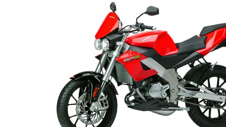 Derbi GPR 125 In Red White Background N Side Pose